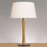 Afbeelding vanAluminor tafellamp Beverly It, chroom, voor woon / eetkamer, metaal, hout, textiel, E27, 40 W, energie efficiëntie: A++, H: 56 cm