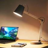 Afbeelding vanLucide houten bureaulamp Tony, grijs, voor werkkamer / kantoor, hout, metaal, E14, 40 W, energie efficiëntie: A++, H: 69 cm