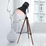 Afbeelding vanSteinhauer BV driepotige vloerlamp Hoody uit hout en metaal, voor woon / eetkamer, hout, E27, 60 W, energie efficiëntie: A++, H: 170 cm