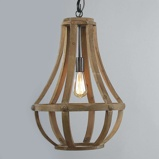 Afbeelding vanSteinhauer BV houten hanglamp Liberty Bell, voor woon / eetkamer, hout, metaal, E27, 60 W, energie efficiëntie: A++, H: 58 cm
