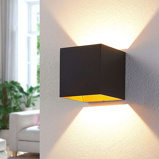 Image ofModern wall lamp black incl. LED with golden interior - Aldrina