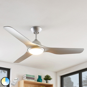 Image of Ceiling fan silver incl. LED and remote control - Pira