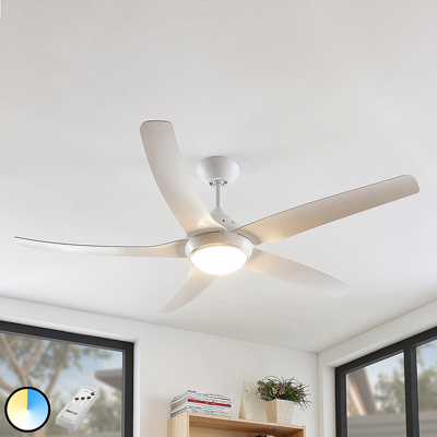Image of Ceiling fan white incl. LED and remote control - Dora
