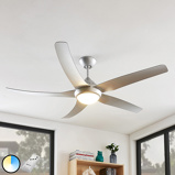 Image ofCeiling fan silver incl. LED and remote control - Dora