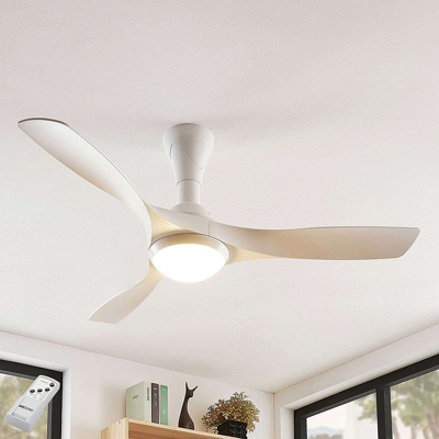 Image of Ceiling fan white incl. LED and remote control - Borga