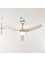 Thumbnail of Ceiling fan white incl. LED and remote control - Aila