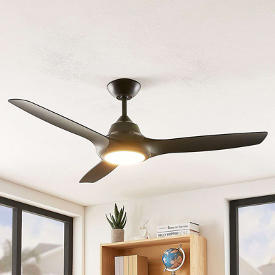 Image of Ceiling fan black incl. LED and remote control - Aila