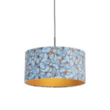 Imagem dePendant Lamp Black with 50cm Velvet Butterfly Shade Combi