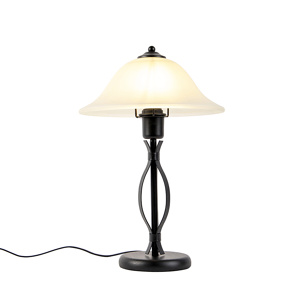 Image of Classic table lamp brown with beige glass - Pirata