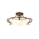 Image ofClassic ceiling lamp brown with opal glass - Unico