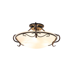 Image of Classic ceiling lamp brown with opal glass - Unico