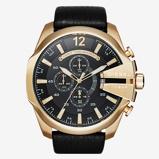 Afbeelding vanDiesel Horloge Chronograaf Mega Chief staal/leder goudkleurig-zwart DZ4344