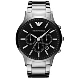 Afbeelding vanArmani herenhorloge AR2460 horloge Hoge Marge Zilverkleur,Zwart