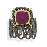Imagine dinHandmade Black & Gold Plated Silver Ring With Ruby Quartz & Hematite Gemstones