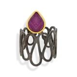 Imagine dinHandmade Black & Gold Plated Silver Ring With A Ruby Quartz Gemstone