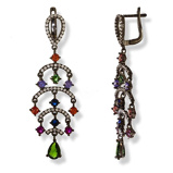 Imagine dinBlack Plated Silver Chandelier Earrings With Orange, Purple, Blue, Green & Clear Cubic Zirconia