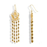 Imagine dinGolden Falls Handmade Gold Plated Silver Long Chandelier Earrings With Gold Hematite