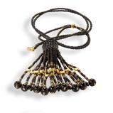 Imagine dinHandmade Black Gold Shimmering Tassel Necklace