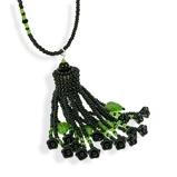 Imagine dinHandmade Black Green Shimmering Long Tassel Necklace