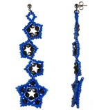 Imagine dinHandmade Beaded Shimmering Long Earrings Stars Blue Black