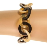 Imagine dinBuffalo Horn Black Amber Chain Bracelet