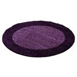 Afbeelding vanRond Hoogpolig vloerkleed Edge Paars Ø 120cm Adana Carpets