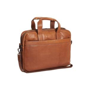 Afbeelding van 1 vaks 15,6 inch laptop business herentas DEAN Soft Class cognac