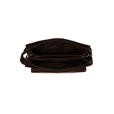 Afbeelding van 2 vaks schoudertasje clutch KAYLEIGH wax pull up bruin