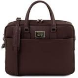 Εικόνα τουSaffiano leather laptop briefcase with front pocket Dark Brown