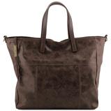 Image deAged effect leather shopping bag Dark Brown