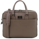 Εικόνα τουSaffiano leather laptop briefcase with front pocket Dark Taupe