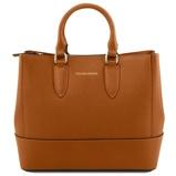 Εικόνα τουSaffiano leather handbag Cognac