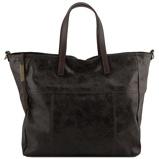 Image deAged effect leather shopping bag Black