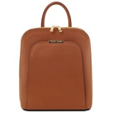 Εικόνα τουSaffiano leather backpack for women Cognac