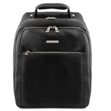 Image of3 Compartments leather laptop backpack Black