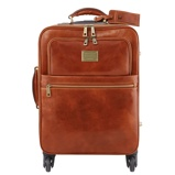Image of4 Wheels vertical leather trolley Honey