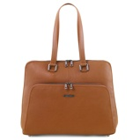 Image ofbusiness bag in soft leather for women Cognac