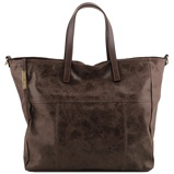 Imagem deAged effect leather shopping bag Dark Brown