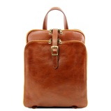 Image of3 Compartments leather backpack Honey