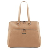Image ofbusiness bag in soft leather for women Champagne