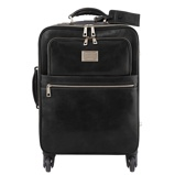 Image of4 Wheels vertical leather trolley Black