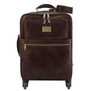 Image de 4 Wheels vertical leather trolley Dark Brown