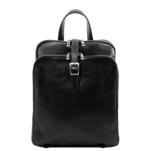 Image de 3 Compartments leather backpack Black