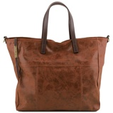Image deAged effect leather shopping bag Cinnamon