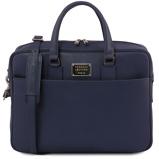 Εικόνα τουSaffiano leather laptop briefcase with front pocket Dark Blue
