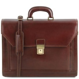Image of2 compartments leather briefcase with front pocket Brown