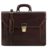 Image of2 compartments leather briefcase with front pocket Dark Brown
