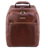 Image of3 Compartments leather laptop backpack Brown