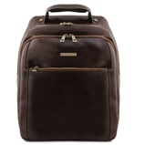 Image of3 Compartments leather laptop backpack Dark Brown