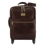 Image de4 Wheels vertical leather trolley Dark Brown